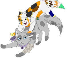 Mistycat and Storm by CascadingSerenity