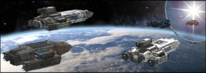 Scarab and Kiboko-class freighters at the gate by 0-hr