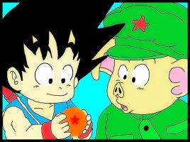 Goku and Oolong by minguinpingu05