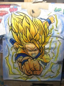 Airbrush T-shirt of Dragon-ball Z character by antgarcia