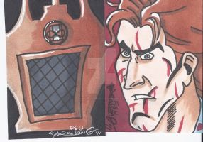 The Curator and Ash sketchcard by LarsonJamesART