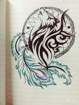 wolf tribal tatoo by dinasaher
