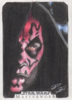 SW Masterwork - Darth Maul Artist Return Card by DenaeFrazierStudios