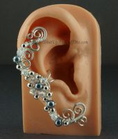 Silver Fairy Ear Cuff with Gray Pearls by Gailavira