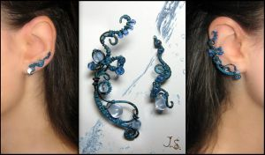 Ear cuff and earvine Thawing ice by JSjewelry