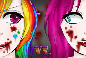 rainbow factory and cupcakes (art trade with..Alme by iKillerJuliis