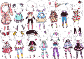 -CLOSED- Cute outfit ADOPTS by Guppie-Adopts