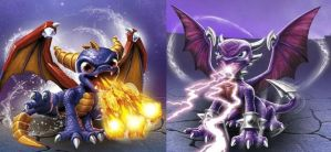 Skylanders Spyro and Cynder by Galaxyblaze