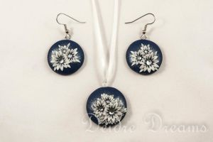 Snowy Nights Earrings and Pendant Set by DeidreDreams
