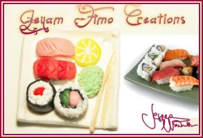 Sushi Plate Necklace by Jeyam-PClay