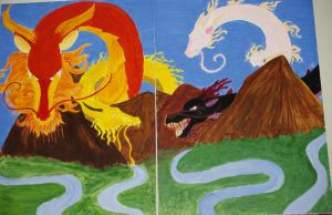 4 Dragon Kings Painting by Imva