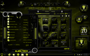 windows 7 themes alien tech yellow by newthemes