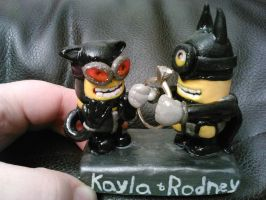 Bat/Cat-minion Wedding Cake Topper by ShadyDarkGirl