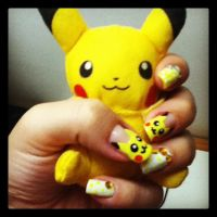 Pikachu Plush and Nail Art by kirarachan
