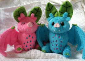 Fruit Bats- Teal and Pink by full-moon-born