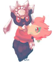 Diancie and Spritzee by sorjei