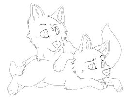 Wolf pups lineart by Terryburr