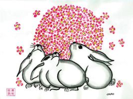 Moon Viewing Bunnies---chinese Brush Painting by artwrkx