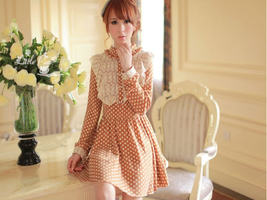 Long-Sleeve Polka Dot Lace Ruffles Dress-L21101 by littlepawfashion