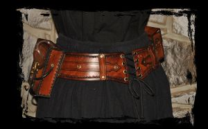 steampunk Hawkgirl utility leather belt back view by Lagueuse