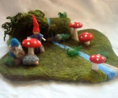 Gnome Home Needle Felted Playmat by Dragonflyducky