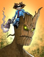 Rocket and Groot by ObbArt