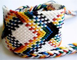 White Rainbow Plaid Bracelet by QuietMischief