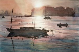 Ha Long Sunset, 38x56cm by NiceMinD