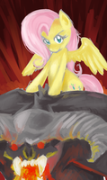 Fluttershy Riding a Balrog by Sarochan
