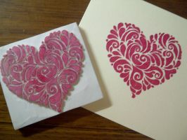 Elegant heart - rubber stamp by dunkleLamm