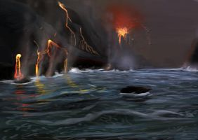 Lava Hits Ocean7 by SolarisVoid