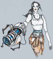 Chell - Sketch v2 by noxeen