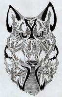 .: Tribal Textured Wolf Head :. by mimmiley