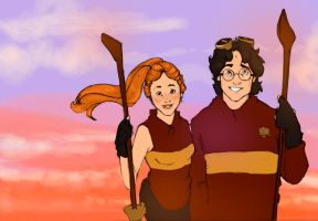 quidditch at sunset by MioneBookworm