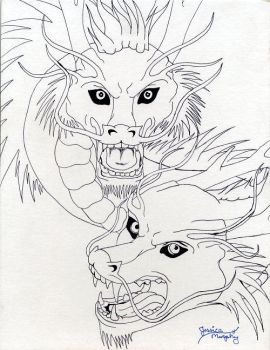 Chinese Dragons - Lineart by Lorr