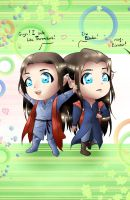 Chibi Elladan and Elrohir by Rina-from-Shire