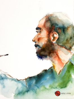 Watercolor portrait of Inoue Takehiko by young920