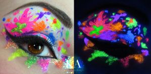 Deviant Art Inspired Black Light Makeup by KatieAlves