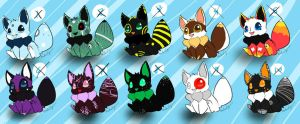 Eevee Adoptables Set 1 CLOSED by TheLonelyQueen