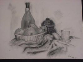 still life charcoal by bretton