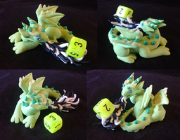 Green Fire Breathing D6 Dragon by Alexandrite-Dragons
