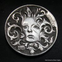 'The Goddess'Hobo Nickel Carving by Shaun Hughes by shaun750