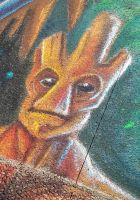 Groot close up chalk art by charfade