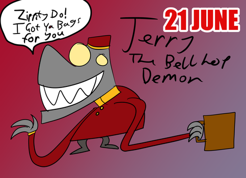 June-21 Jerry The Bell Hop Demon by WonderfulWiz