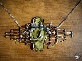 Steampunk lock necklace by Spiked-Fox