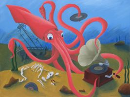 Squid, mystified by phonograph by tursiart
