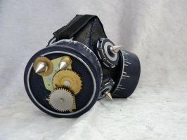 Silver-blue steam punk spiked gas mask by Serata