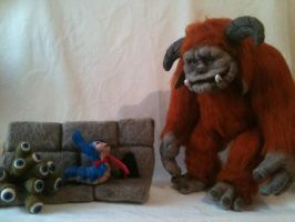 Labyrinth, Ludo and the Worm, Needlefelted by RosieandButch