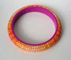 yellow pixel polymer clay bangle by OriginalBunny