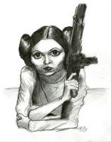 Princess Leia caricature (graphite pencil sketch) by Caricature80